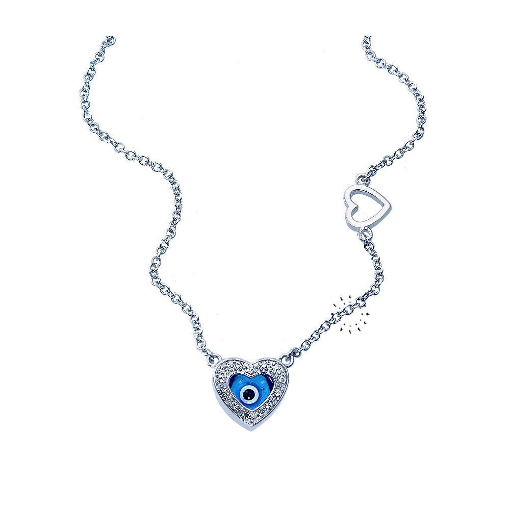 Κολιέ Καρδιά 14 καράτια Λευκόχρυσο με ματάκι - kosmima.gr d40585f8eda
