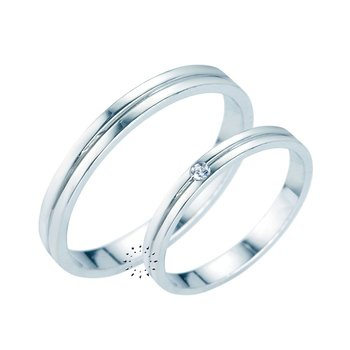 Wedding rings in 14ct whitegold and Diamonds