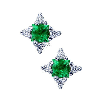 Earrings 18ct with Emerald