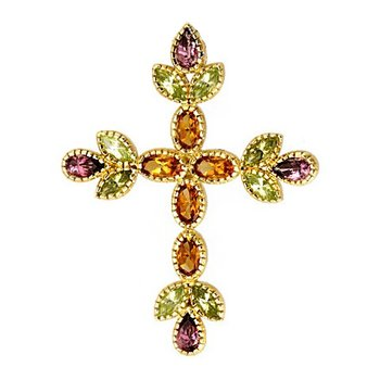 Cross 18K Gold with Citrine