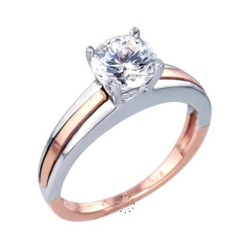 Ring 14ct White gold and Pink