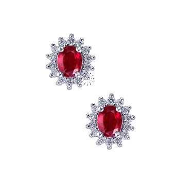 Earrings 18ct with Rubies and