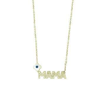 Necklace ''mama'' 14K Gold with Zircon