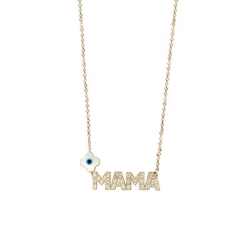 Necklace ''mama'' 14K Rose Gold with Zircon