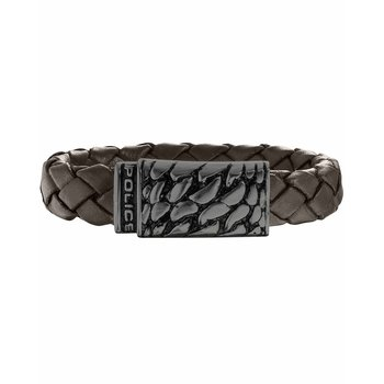 Brown leather bracelet with