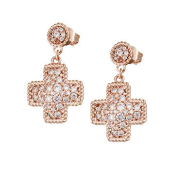 Cross-shaped brass earrings