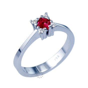 Ring 18ct Whitegold with Ruby