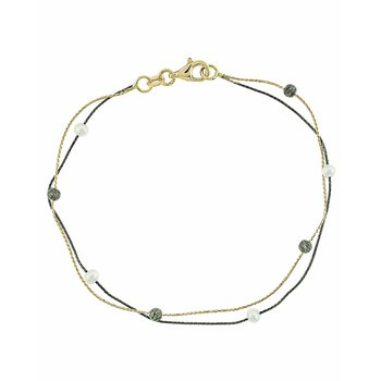 Bracelet 14ct gold and black