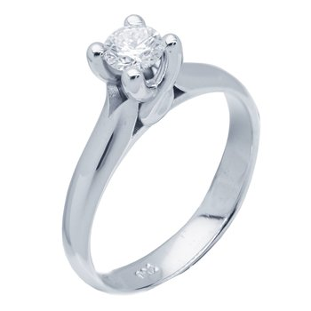 Solitaire ring 18ct Whitegold with Diamonds FaCaDoro