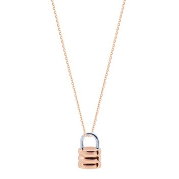 Necklace Tiny Lock 14ct Rose