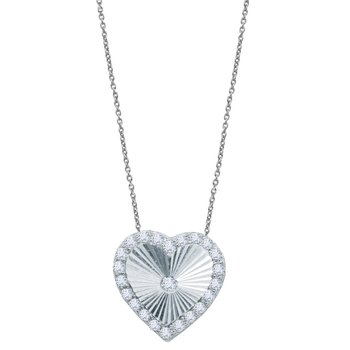 Necklace The Love Collection 14Κ White Gold with zircon SAVVIDIS