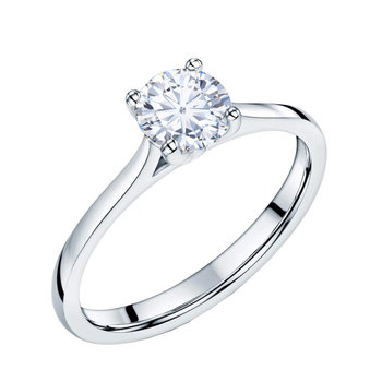 Solitaire ring 18ct white