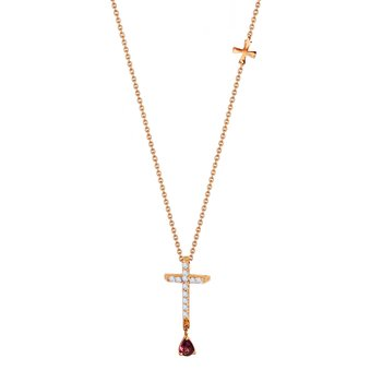 Necklace with cross 18K Rose