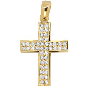 Cross 14K gold with zircon