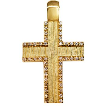 Cross double face14K gold