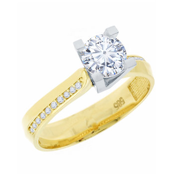 Solitaire ring 14ct Gold and
