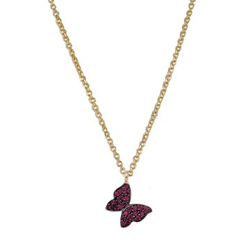 Necklace with butterfly14ct