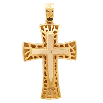 Cross Double Face 14ct Gold