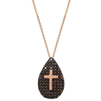 Necklace with cross 14ct rose