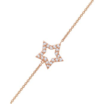 Bracelet with star 14ct rose
