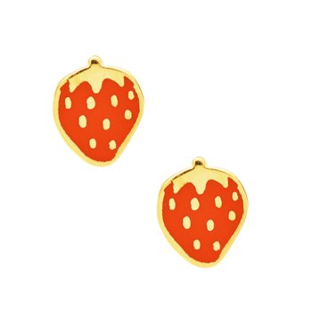 Earrings with strawberries