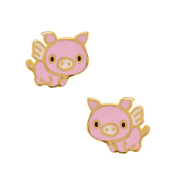 Earrings with pig 9ct gold