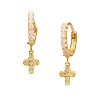 Earrings with cross 9ct gold
