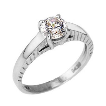 Solitaire ring 14ct white