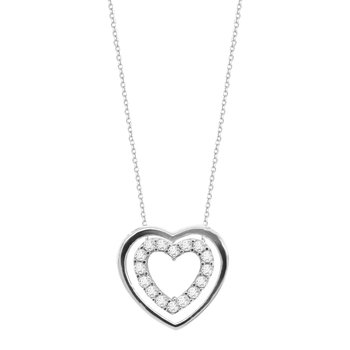 Heart Necklace in 9ct White