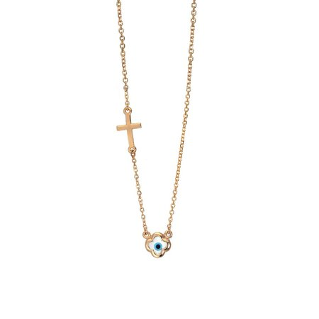 Κολιέ 14Κ Ροζ χρυσό με Ματάκι και Σταυρουδάκι - kosmima.gr 51e13224fef