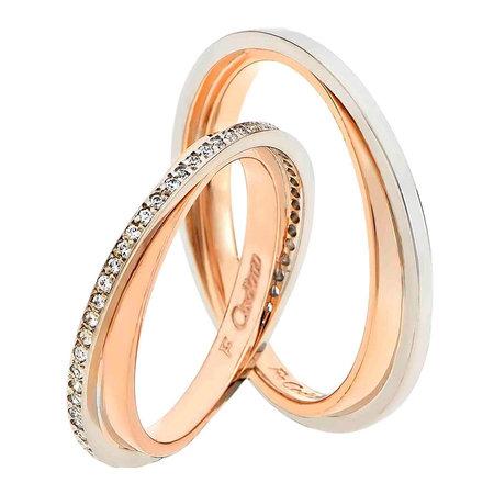 Βέρες 14Κ Ροζ Χρυσό και Λευκόχρυσό με Διαμάντια της FaCaDoro - kosmima.gr 4628c82d7ae
