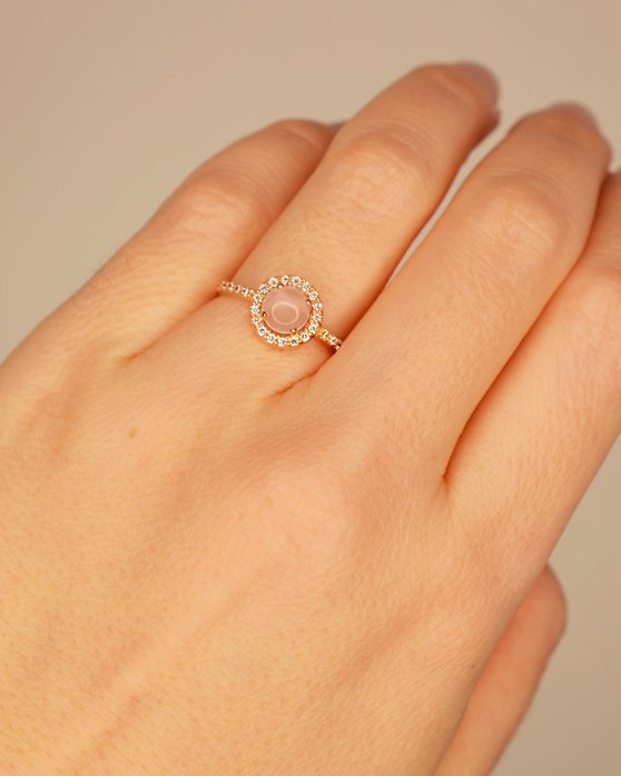 Ring 14ct Rose Gold with zircon SOLEDOR