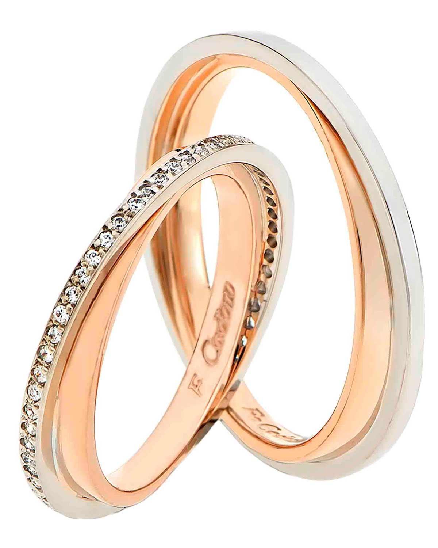 Βέρες 14Κ Ροζ Χρυσό και Λευκόχρυσό με Διαμάντια της FaCaDoro ... 555530ca646